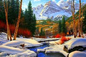 winter retreat xmas rivers scenery christmas holidays nature art