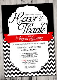 pastor appreciation invitation red and black or pick any color