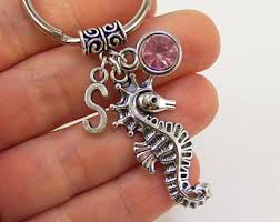 personalized keychain party favors seahorse keychain etsy
