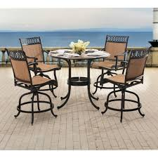 slate dining table set sunjoy delilah aluminum and slate 5 piece dining set with lighted