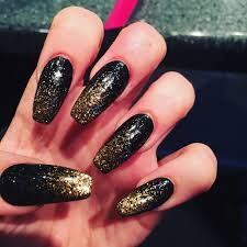 black coffin nails with gold glitter ombré nails pinterest