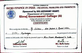 microfinance thesis research oriented programmes gunda srinivas micro finance development in india in one day national seminar on micro finance in india practices problems and prospects held during 25th october