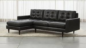 Leather Chaise Sofa Petrie Leather 2 Left Arm Chaise Midcentury Sectional Sofa