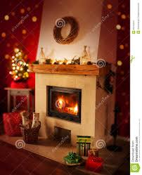 fireplace with gifts christmas tree home interior decoration