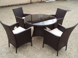 Wicker High Back Dining Chair Luxury Patio Furniture Glass Table And Wicker High Back Dining
