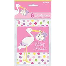 stork baby shower pink stork baby shower invitations 8pk walmart