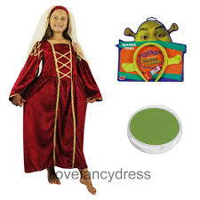 Fiona Halloween Costume Girls Tudor Princess Dress Shrek Fiona Ears Green Face