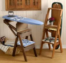 Library Step Stool Chair Combo Handmade Wooden Furniture Ironing Board Stepstool Ladder Combo