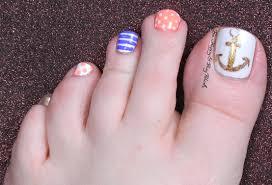 nautical nail art pedicure be happy and buy polish