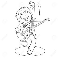 coloring page outline of a cartoon boy with a guitar isolated