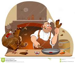 cooked turkey thanksgiving thanksgiving turkey and chef cartoon characters stock photos