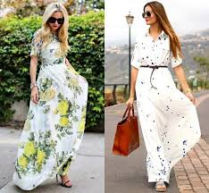 long casual summer dresses with short sleeves latest fashion style