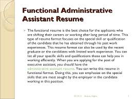 functional resume template administrative assistant director new jersey car buying selling faq combination resume exle