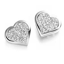 heart shaped diamond earrings the raphael collection 18ct white gold heart shaped diamond stud