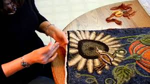 Wool Hand Hooked Rugs This Video Shows How To Finish A Hand Hooked Rug By Binding It
