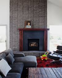 modern rustic fireplace design living room midcentury with sloped ceiling mid century off center fireplace