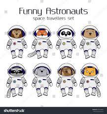 cute halloween background monkey set cute animal astronauts cartoon style stock vector 478770982