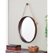 mirror home decor wall mirror rope hanging oval rustic bathroom entryway