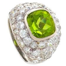 rené boivin paris 1930 u0027s art deco peridot diamond gold ring for