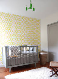 Light Green Stool Baby Nursery Nursery Accent Wall Features Yellow Pattern Wall