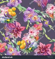 summertime garden flowers watercolor seamless pattern stock