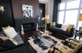 black and gray living room yellow and black living room contemporary living room