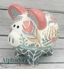 Monogrammed Piggy Bank Boho Chic Feathers Piggy Bank In Coral Mint Gold By Alphadorable