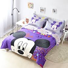 Queen Minnie Mouse Comforter Purple Mickey Mouse Full Queen Size Duvet Cover Cotton Bedding