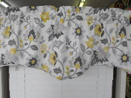 Yellow And Gray Window Curtains Window Treatment Valance Gray Yellow Charcoal Gray Light Gray
