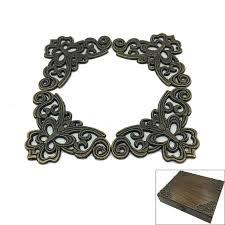 4pcs antique brass jewelry chest wood box decorative copper
