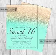 customizable sweet sixteen 16 mint and gold glitter ombre