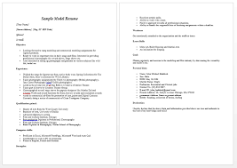 Resume Letter Example by Modeling Resume 10 Uxhandy Com