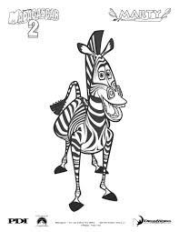 madagascar 2 marty the zebra coloring pages hellokids com