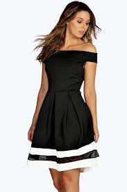 sarah off shoulder contrast mesh skater dress boohoo tux dress
