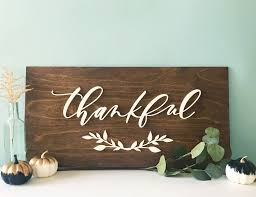 thanksgiving wood sign thankful fall home decor