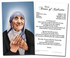thanksgiving prayer to mother mary st mother teresa of calcutta canonization prayer card by nelson