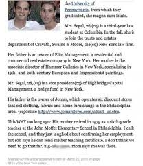 new york times wedding announcement new york times accidentally leaves editor s petty elitist