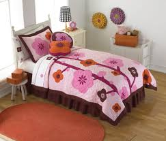 kids room cute burgundy bedding set with floral bedcover
