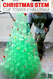 christmas cup tower stem challenge tree activity for kids