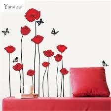 Poppy Home Decor Yunxi Poppy Removable Wall Decals Home Decor Flower Vinyl