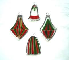 hand painted christmas ornaments victorian style set of 4 small