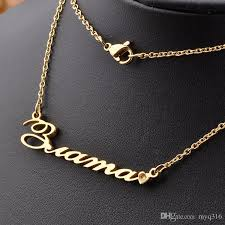 customizable necklaces wholesale 2016 18k gold plated 925 sterling silver customized name