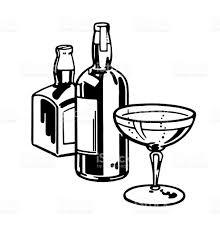 cartoon alcohol bottle two liquor bottles and cocktail glass stock vector art 132075272