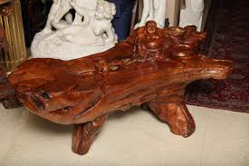very unusual carved tree trunk chinoiseri style coffee table for