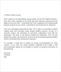 sample recommendation letter for middle student letter of