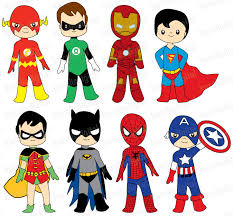 superheroes digital clip art ironman batman flash
