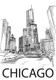 chicago city centre illinois usa hand drawn sketch stock vector