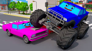 monster truck jam videos for kids monster truck vs racing cars real car in the city monster trucks