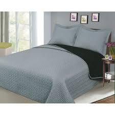 Grey Quilted Bedspread Luxury Fashionable Reversible Solid Color Bedding Quilt Set Black