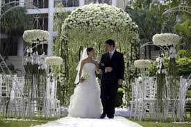 classic outdoor wedding ceremony decorations exterior fireplace at